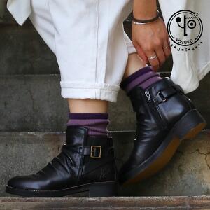 ショート ブーツ サイドゴア レザーブーツ ドレープ レザー 天然クレープソール イタリアン アンティーク加工 レディース 女性用 23.5cm 24.0cm 24.5cm 靴 本革