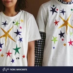 半袖TEE Tシャツ Rainbow Star 刺繍 星 スター クルーネック トップス 薄手 コットン 綿100% 春物 春服 春夏 レディース メンズ