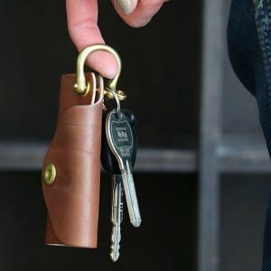 キーケース レザー 革 本革 鍵 手縫い ハンドメイド ケース 真鍮 ダークブラウン メンズ レディース
