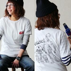 STARWARS プリント Tシャツ ポケット 半袖 手書き風 スケッチ風 メインロゴ C3PO R2D2 レディース 女性用 秋冬 冬 冬物