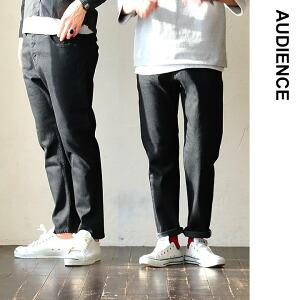 セルビッチ ストレッチ デニム アンクル丈 パンツ 日本製 国産 ブラック 黒 カジュアル メンズ レディース ユニセックス