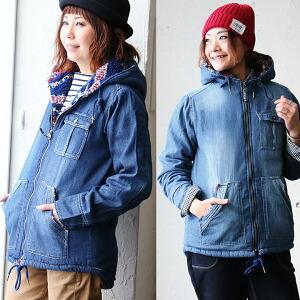 裏ボア デニム フードジャケット マウンテンパーカー 中綿 袖裏キルティング レディース 女性用 冬 冬物