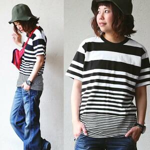 半袖 Tシャツ ティーシャツ バインダーネック 「転換 パターン」 ボーダー 綿100% 天竺 メンズ レディース 女性用 トップス カジュアル 重ね着 着回し| カットソー 半袖t 半袖tシャツ ティシャツ tee