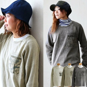 TEE Tシャツ クルーネック ポケット 異素材 生地切替 迷彩柄 ワッフル生地 リップストップ レディース メンズ 秋冬 冬 冬物