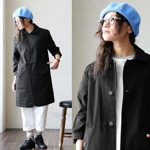 長袖 ミドル丈 高密度ツイル ラウンド カラー コート 綿100% カジュアル メンズ レディース アウター 春アウター 春服