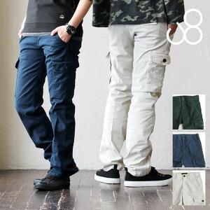 パンツ カーゴ スリム ストレッチ ジャーマンクロス ウエストアジャスター付 日本製 メンズ レディース ミリタリー 春 40代 50代