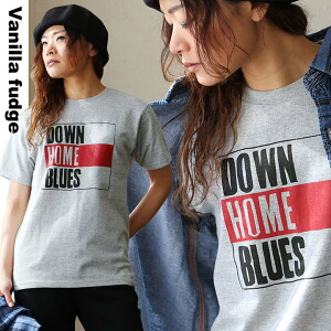 半袖 Tシャツ クルーネック ロゴプリント Down Home Blues 綿100% ボックスシルエット ユースサイズ Tee レディース 女性用 春 春物