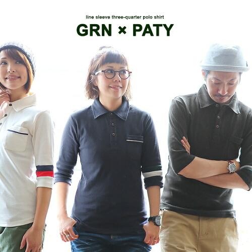 (ジーアルエヌ×パティ) GRN×PATY ポロシャツ 7分袖 ロング丈 配色 アシメ 2ライン 限定 綿100%