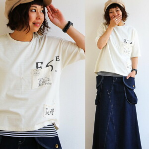 半袖Tシャツ Tシャツ TEE 半袖 クルーネック 胸ポケット プリント オーバーサイズ コットン100% 綿100% コットン 体型カバー レディース 女性用 夏 夏物 夏服 涼しい