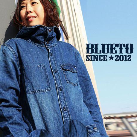 (ブルート) BLUETO コート デニムコート モッズコート M-51 モチーフ 「綿麻 軽量 ユーズド デニム」