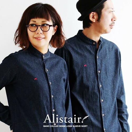 (アリステア) ALISTAIR シャツ 長袖 バンドカラー デニムシャツ ユーズド加工 配色 刺繍 綿100%