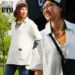 五分袖 シャツ ワンピース チュニック スキッパーネック ビッグポケット 綿麻 ピンストライプ レディース 女性用 トップス カジュアルシャツ 薄手 重ね着 大きめ 大きいサイズ 軽量 涼しい 夏