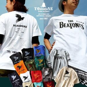 Tシャツ 半袖 丸胴 クルーネック 綿100% 『THE BEATONES BLACK BIRD』 メンズ レディース トップス 重ね着 カジュアルシャツ インナー シンプル カットソー カジュアル おしゃれ ロゴ