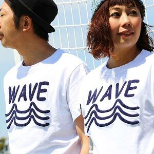 半袖 Tシャツ クルーネック 「相良 サガラ 刺繍 WAVE 波 サーフ」 綿100% メンズ レディース トップス カジュアルシャツ アメカジ 大きめサイズ 重ね着 着回し 夏 ホワイト 白 グレー アメリカ