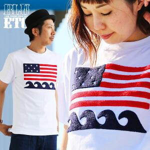 袖 Tシャツ クルーネック 「相良 サガラ 刺繍 星条旗」 綿100% メンズ レディース トップス カジュアルシャツ アメカジ 大きめサイズ 重ね着 着回し 夏 ホワイト 白 アメリカ スター 40代 50代