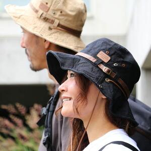 アドベンチャー ハット ワイヤー入り ツバ レザー ワッペン サイドテープ コード 紫外線対策 日焼け対策 コットン100% レディース メンズ 夏 帽子 アドベンチャーハット