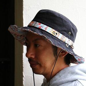 アドベンチャー ハット ワイヤー入り ツバ レザーコード カラフル チマヨ柄 オルテガ ネイティブ テープ コード調整可能 紫外線対策 日焼け対策 コットン100% レディース メンズ 夏 帽子 アドベンチャーハット