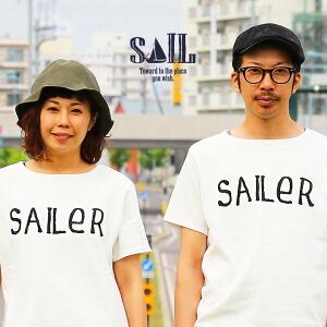 半袖 カットソー バスク バスクシャツ ボートネック 「SAILeR」 プリント フレンチ 中肉厚 綿100% レディース メンズ トップス カジュアルシャツ シンプル きれいめ 無地 白 ホワイト Tシャツ
