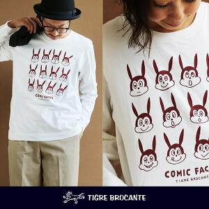 長袖 TEE ロンTEE Tシャツ クルーネック プリント コミックフェイス コットン100% 長袖Tシャツ 長袖TEE ロンティー レディース メンズ 夏 夏物 40代 50代 日本製 国産 日本 Made in Japan