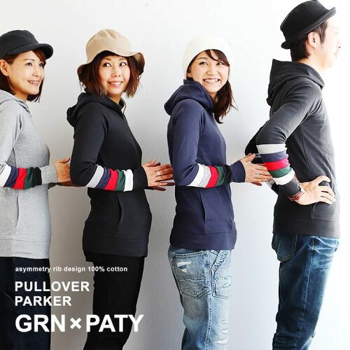 (ジーアルエヌ×パティ) GRN×PATY パーカー カットソー 「袖 配色 ライン レインボー」 ポケット 綿100%