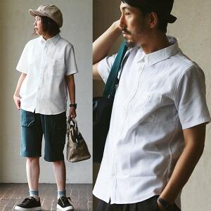 シャツ 半袖 「綿 麻 ワッフル」薄手 無地 胸ポケット付き メンズ レディース トップス カジュアルシャツ 大きいサイズ シンプル 半袖シャツ