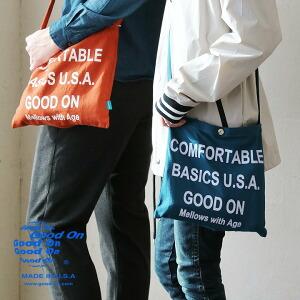 サコッシュ バッグ カバン 鞄 かばん ショルダーバッグ ロゴ プリント USA コットン Cotton メンズ レディース 40代 50代 日本製 国産