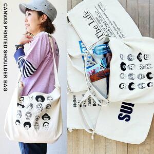 ショルダーバッグ バッグ BAG 鞄 かばん プリント キャンバス メンズ レディース 大きめ 大きいサイズ A4 一泊旅行|ショルダーバック 旅行 バック 旅行バッグ 一泊二日 1泊2日 40代 50代