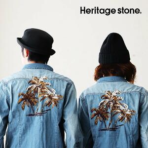 シャツ デニムシャツ 7分袖 ウエスタンシャツ ライトオンス デニム ヴィンテージ加工 刺繍 ヤシの木 メンズ レディース トップス カジュアル アメカジ 重ね着 | 7分袖シャツ メンズシャツ 40代 50代