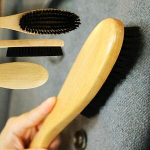 洋服ブラシ 天然獣毛 豚毛 ブラシ メンテナンス 手入れ ホコリ取り 髪の毛取り メンテ