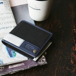 ウォレット 二つ折り 財布 サイフ レザー ポリキャンバス 牛革 カウレザー オープンポケット レディース メンズ プレゼント ギフト 就職祝い 贈り物 40代 50代