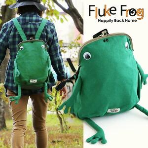 リュック バッグパック バッグ 鞄 カバン がま口 カエル スウェット A4サイズ 背面ファスナー 大容量 レディース メンズ キッズ 子供 遠足 親子 Fluke Frog