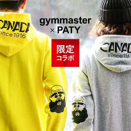 (ジムマスター×パティ) gymmaster×PATY パーカー スウェット ヒジ「おじさん」プリント フードプリント