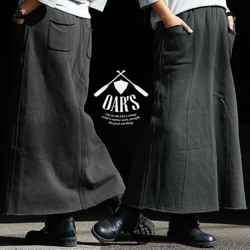 (オールズ) OAR'S スカート マキシ ロング ウエストゴム カットオフ アクセント 米綿 ピグメント加工