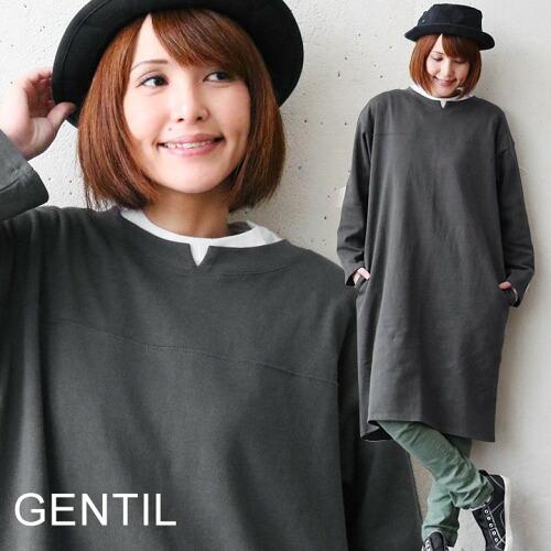 (ジャンティ) GENTIL ワンピース Tワンピ モックネック 衿スリット 長袖 カット コットン天竺 体型カバー