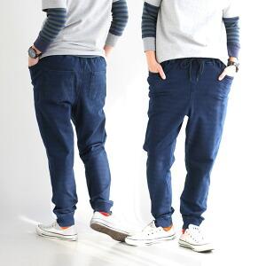 パンツ スウェットパンツ イージーパンツ テーパード ゆったり 裏ボーダー 裾リブ ポケットパンツ インディゴ レディース メンズ 40代 50代 春