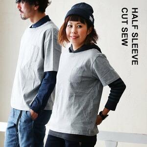 半袖ポケットTEE Tシャツ 半袖 TEE 胸ポケット クルーネック ボックスシルエット 空紡糸 コットン100% レディース メンズ 日本製 国産 40代 50代 メンズTシャツ レディースTシャツ カットソー 重ね着