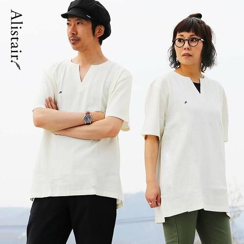 (アリステア) ALISTAIR  シャツ 半袖 キーネック 「吸湿 速乾 麻 レーヨン」 ワンポイント A. 刺繍 薄手 無地