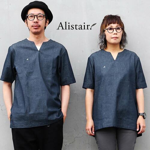 (アリステア) ALISTAIR シャツ 半袖 キーネック デニム 配色 ワンポイント 刺繍 綿100%
