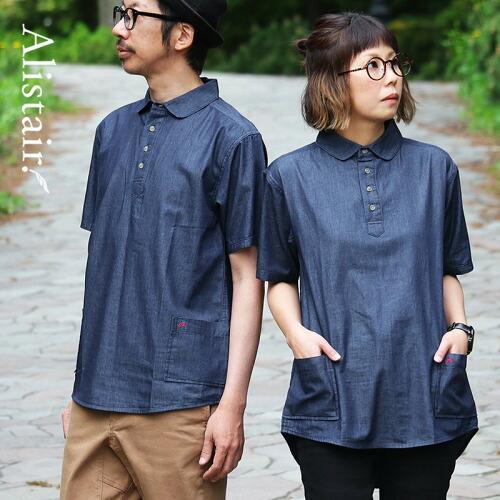 (アリステア) ALISTAIR シャツ 半袖 丸襟 プルオーバー デニム 配色 ワンポイント 刺繍 綿100% 春 夏 40代 50代
