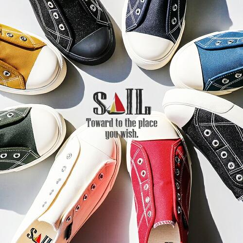 (セイル) SAIL スニーカー ローカット スリッポン   おしゃれ  履きやすい ゴム入り 撥水 汚れにくい