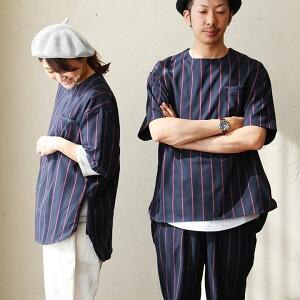 プルオーバーシャツ シャツ 半袖 ビッグシルエット ビッグTEE ストライプ プルオーバー レディース メンズ 40代 50代 Tシャツ TEE