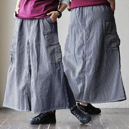 (リーフ) REEF スカートパンツ ワイドパンツ フレアパンツ ワイド ゴム ストライプ ヒッコリー デニム ロング丈 L M 春 夏