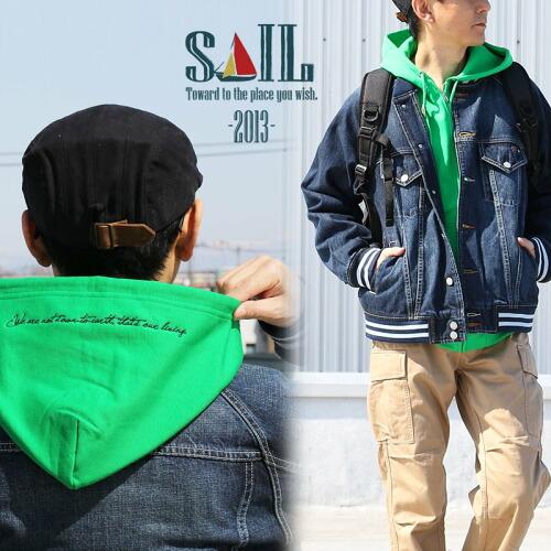 (セイル) SAIL パーカー ジップアップ スウェット 長袖 「フード メッセージ 刺繍 入り」 綿100%