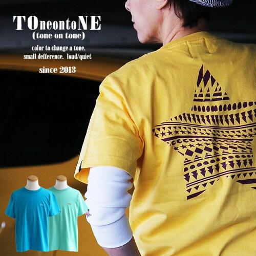 (トーン) TOneontoNE Tシャツ 半袖 クルーネック 『配色 ノルディック 星 スター バック プリント ワンポイント 刺繍』