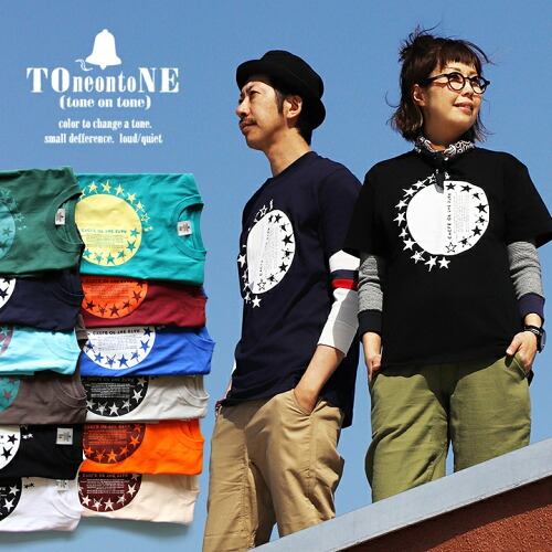 (トーン) TOneontoNE Tシャツ 半袖 クルーネック 『配色 サークル 星 スター プリント』 丸胴 綿100%