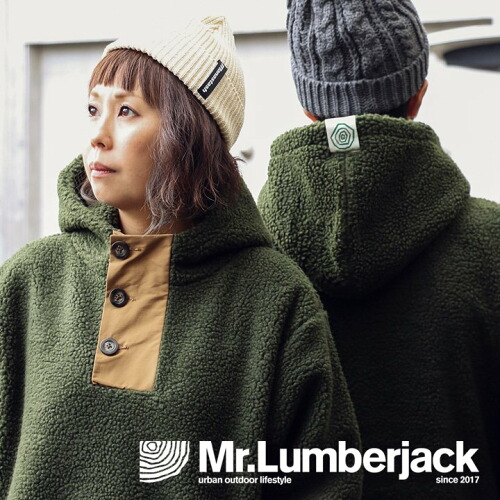 (ミスターランバージャック) Mr.Lumberjack  パーカー アノラック プルオーバー ボア フリース ヘンリー 配色ナイロン 切り替え