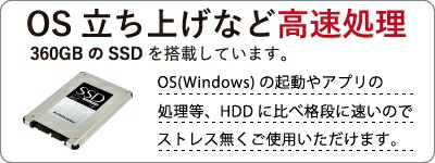 360GBのSSDを搭載しています