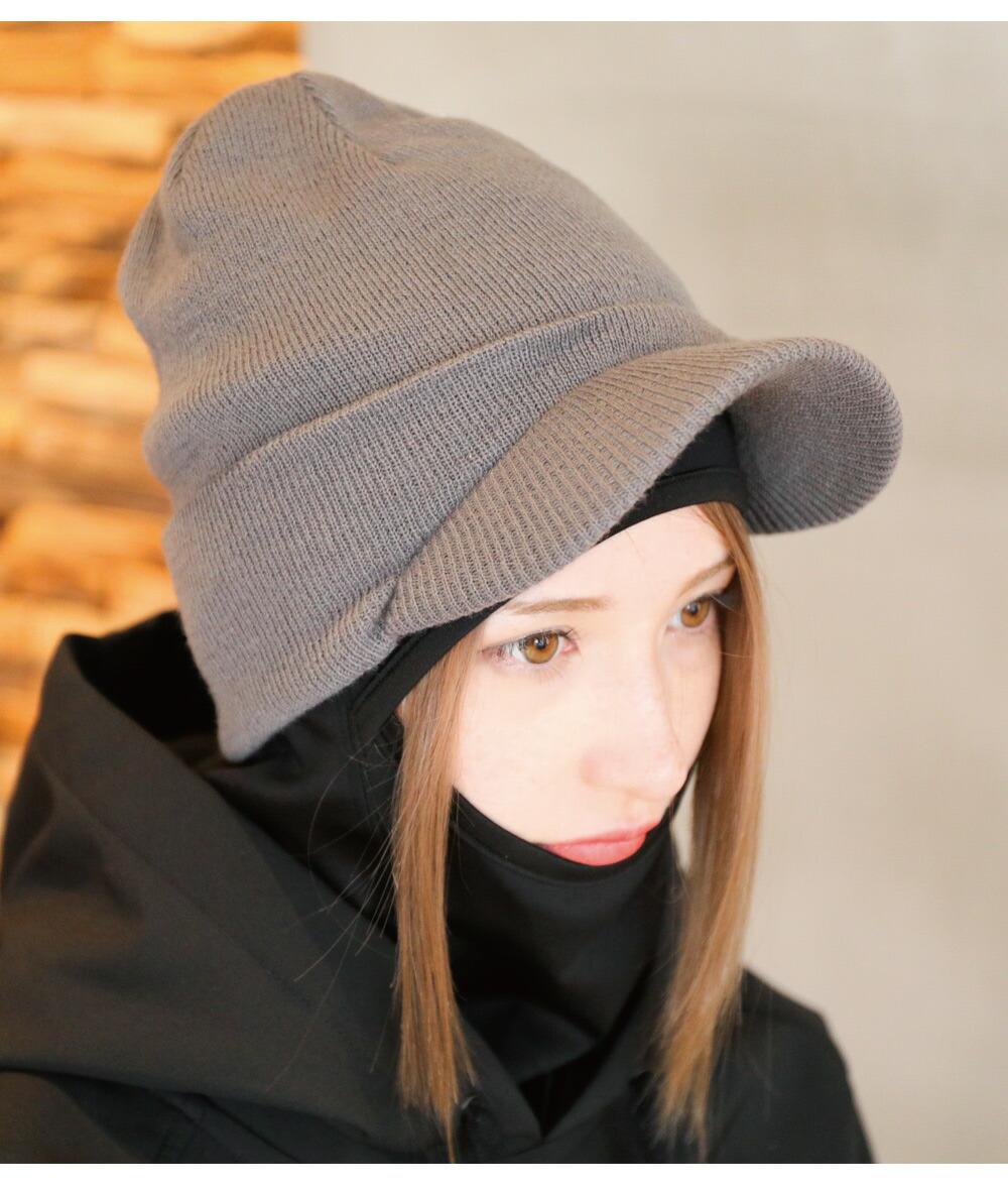 スノボツバ付きニット帽イメージ