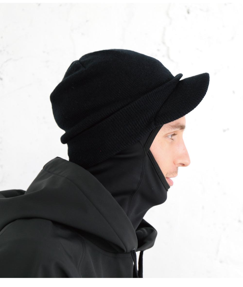 スノーボードツバ付きニット帽、詳細ディテール