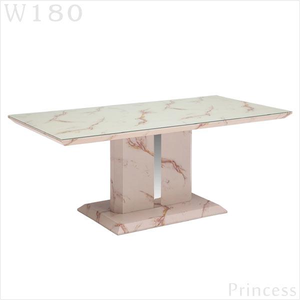 ガラス ダイニングテーブル 幅190cm インテリア 190×90 デザイナーズ風 マーブル 大理石柄 テーブル単体 一本脚 オシャレ ラグジュアリー デザイン スタイリッシュ 長方形